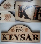 Wood burned surname 7x15.5 plaque, $30