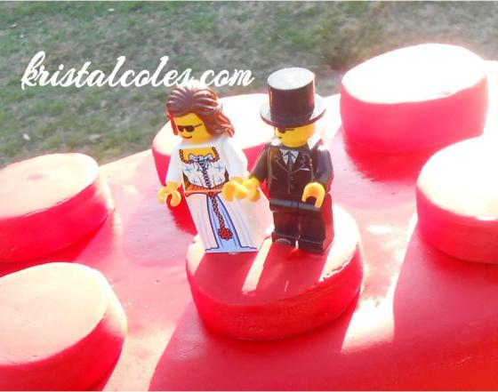 The topper was simply a Lego bride and groom secured with a little corn syrup.