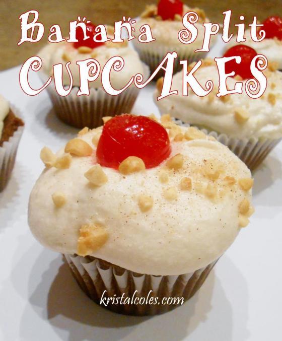 Banana Split Cupcakes - kristalcoles..com