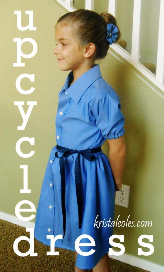 Upcycled Girl's Dress From Men's Shirt - kristalcoles.com