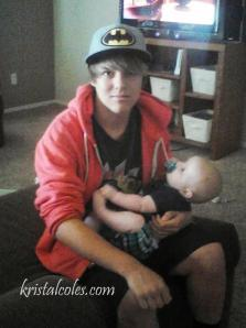 Brandon babysitting earlier this summer.  What a good Daddy he'll make!